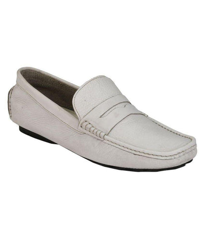 White Color Leather Men's Loafers - 6198_L_White