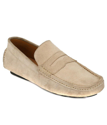 Beige Color Suede Leather Men's Loafers - 6198_S_Beige