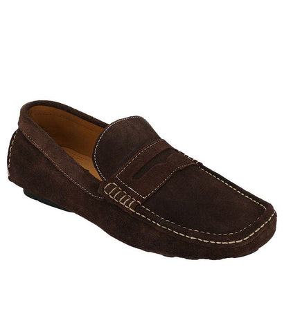 Brown Color Suede Leather Men's Loafers - 6198_S_Brown