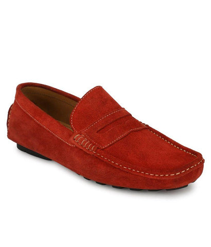 Red Color Suede Leather Men's Loafers - 6198_S_Red