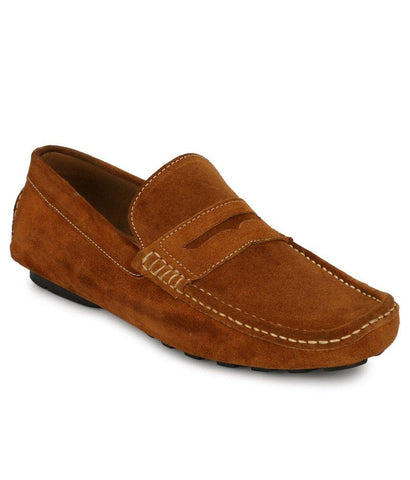 Tan Color Suede Leather Men's Loafers - 6198_S_Tan