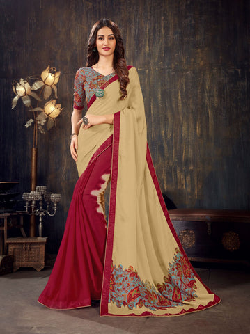 Beige Red Color Moss Chiffon Women's Saree - 62786
