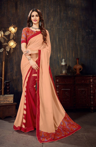 Peach Red Color Moss Chiffon Women's Saree - 62788