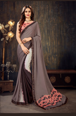 Brown Color Moss Chiffon Women's Saree - 62789