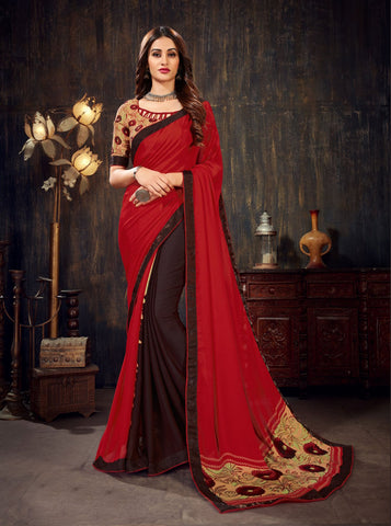 Red Brown Color Moss Chiffon Women's Saree - 62790