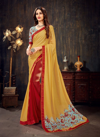 Yellow Red Color Moss Chiffon Women's Saree - 62791