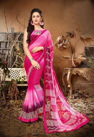 Pink Color Georgette Women's Saree - 62792