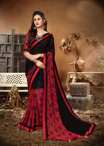 Black Red Color Georgette Women's Saree - 62793
