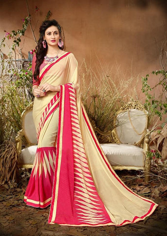 Cream Pink Color Georgette Women's Saree - 62794