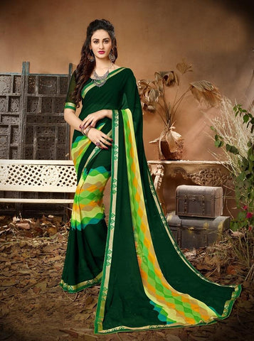 Green Color Georgette Women's Saree - 62795