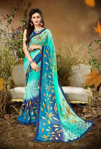 Aqua Blue Color Georgette Women's Saree - 62797