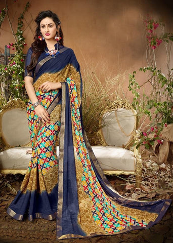 Beige Color Georgette Women's Saree - 62798