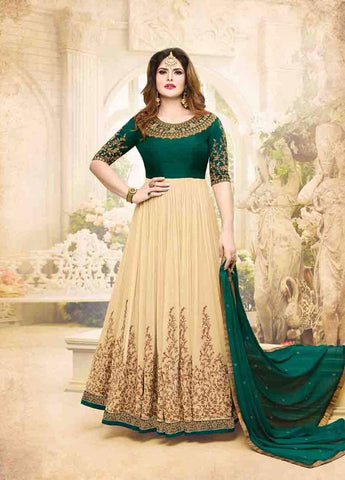 Green and Peach Color Georgette Un Stitched Salwar - 6285