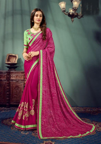 Pink Color Pure Chiffon Women's Saree - 62997