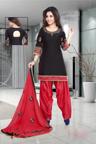 Black Color Cotton Un Stitched Salwar - 6424