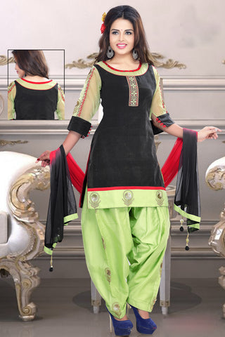 Black Color Chanderi Silk Un Stitched Salwar - 6427
