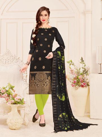 Black Color Banarasi Silk Women's Semi-Stitched Salwar Suit - 66927