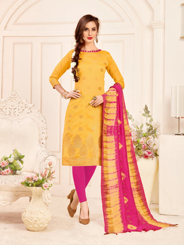 Yellow Color Banarasi Silk Women's Semi-Stitched Salwar Suit - 66928