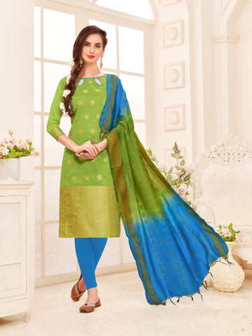 Green Color Banarasi Silk Women's Semi-Stitched Salwar Suit - 66929