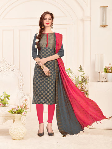 Grey Color Banarasi Silk Women's Semi-Stitched Salwar Suit - 66930