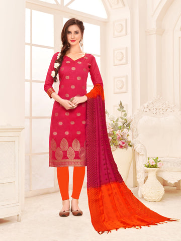 Pink Color Banarasi Silk Women's Semi-Stitched Salwar Suit - 66931