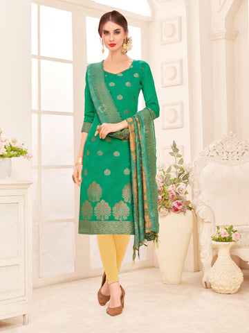 Green Color Banarasi Silk Women's Semi-Stitched Salwar Suit - 66932
