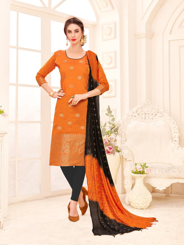Orange Color Banarasi Silk Women's Semi-Stitched Salwar Suit - 66933