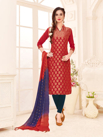 Maroon Color Banarasi Silk Women's Semi-Stitched Salwar Suit - 66934