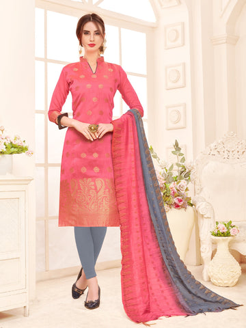 Pink Color Banarasi Silk Women's Semi-Stitched Salwar Suit - 66935