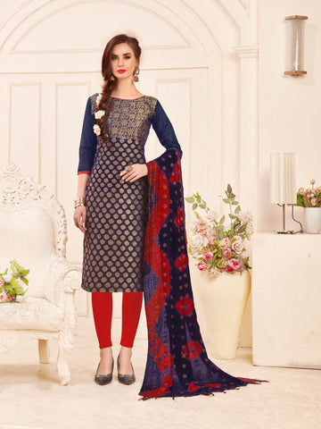 Navy Blue Color Banarasi Silk Women's Semi-Stitched Salwar Suit - 66936