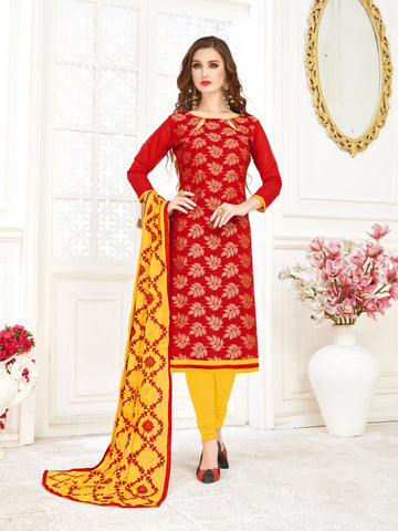 Red Color Banarasi Jacquard Women's Semi-Stitched Salwar Suit - 66949