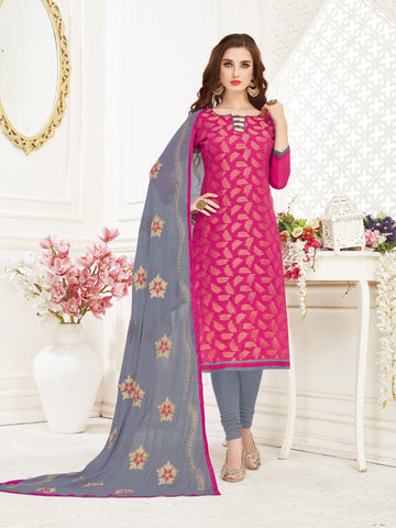 Pink Color Banarasi Jacquard Women's Semi-Stitched Salwar Suit - 66950
