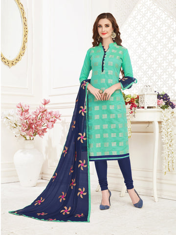 Light Green Color Banarasi Jacquard Women's Semi-Stitched Salwar Suit - 66951