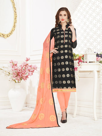 Black Color Banarasi Jacquard Women's Semi-Stitched Salwar Suit - 66952