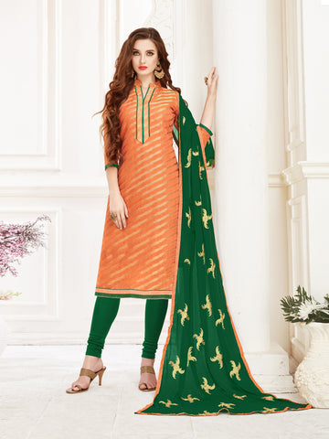 Peach Color Banarasi Jacquard Women's Semi-Stitched Salwar Suit - 66953