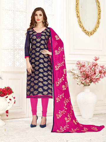 Navy Blue Color Banarasi Jacquard Women's Semi-Stitched Salwar Suit - 66954