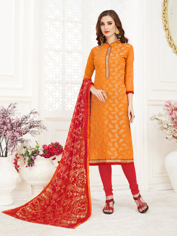 Orange Color Banarasi Jacquard Women's Semi-Stitched Salwar Suit - 66955