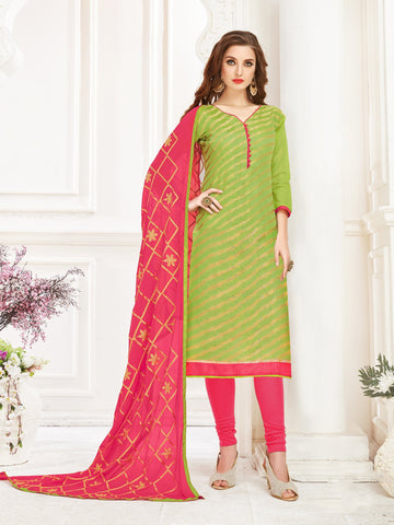 Olive Green Color Banarasi Jacquard Women's Semi-Stitched Salwar Suit - 66956