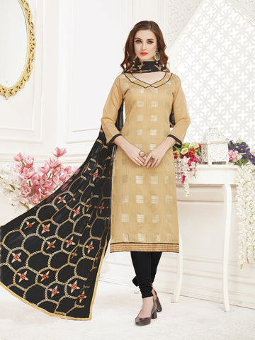 Beige Color Banarasi Jacquard Women's Semi-Stitched Salwar Suit - 66957