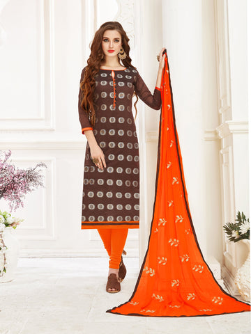 Brown Color Banarasi Jacquard Women's Semi-Stitched Salwar Suit - 66958
