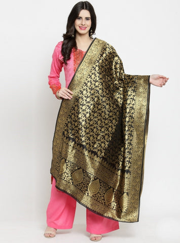 Black Color Banarasi Jacquard Women's Dupatta - 69397