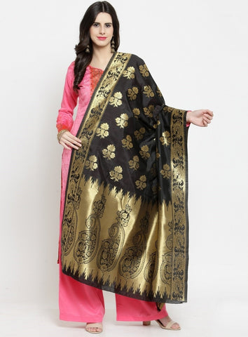 Black Color Banarasi Jacquard Women's Dupatta - 69398