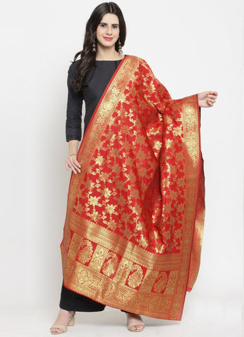 Red Color Banarasi Jacquard Women's Dupatta - 69404