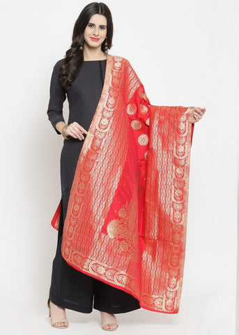 Red Color Banarasi Jacquard Women's Dupatta - 69406
