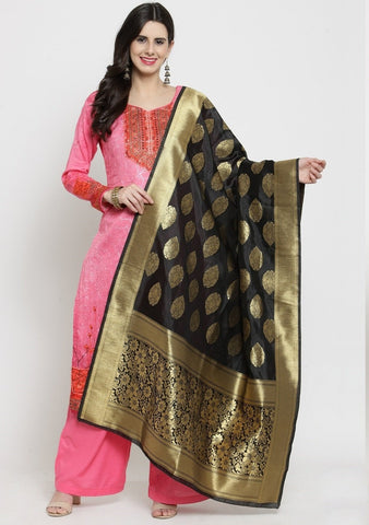 Black Color Banarasi Jacquard Women's Dupatta - 69411
