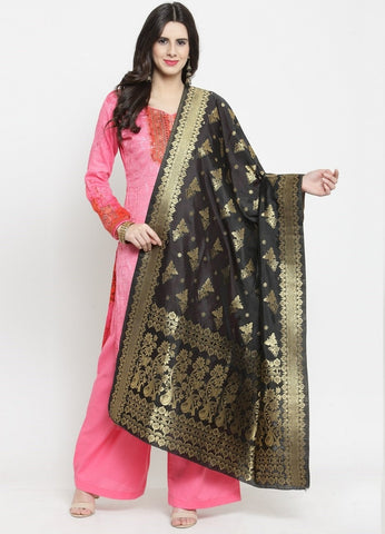 Black Color Banarasi Jacquard Women's Dupatta - 69413