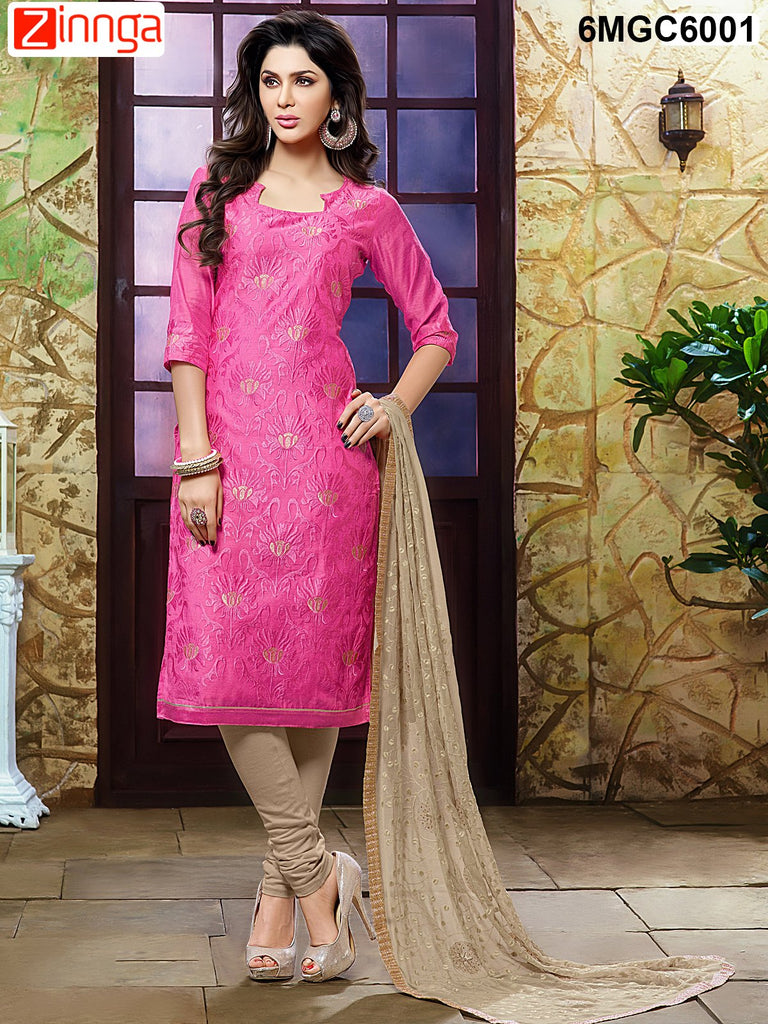 Pink Color Chanderi Dress Material