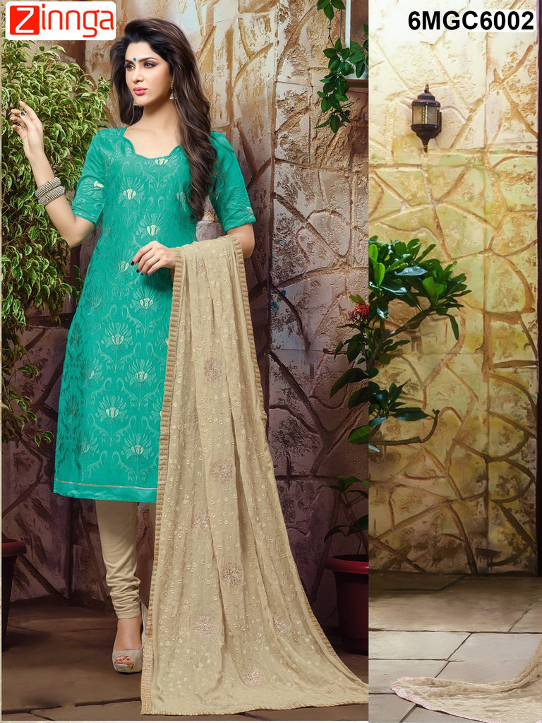 Sea Green Color Chanderi Dress Material