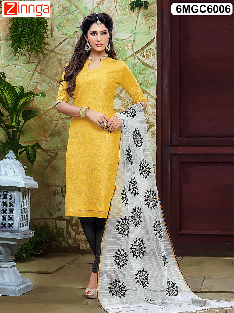 Yellow Color Chanderi Dress Material