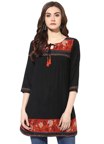 Black Color Rayon Stitched Kurti - 7000001-BLACK